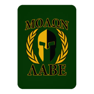 Molon Labe Spartan Laurels Forest Green Decor Card