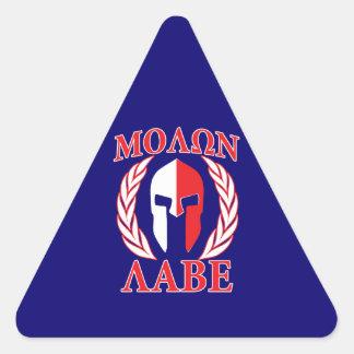 Molon Labe Spartan Mask Laurels Navy Blue Triangle Sticker