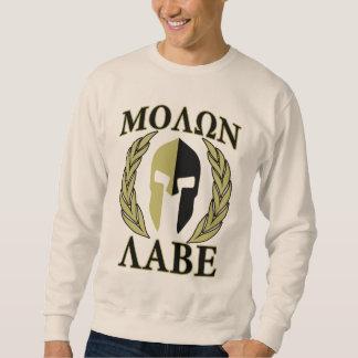 Molon Labe Spartan Mask Laurels Olive Green Pullover Sweatshirts