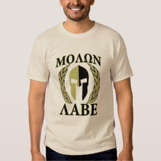 Molon Labe Spartan Mask Laurels Olive Green Shirts