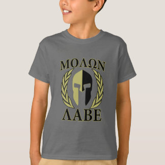 Molon Labe Spartan Mask Laurels Olive Green T-Shirt