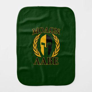 Molon Labe Spartan Mask Laurels on Green Burp Cloth