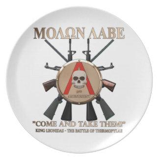 Molon Labe - Spartan Shield Party Plates