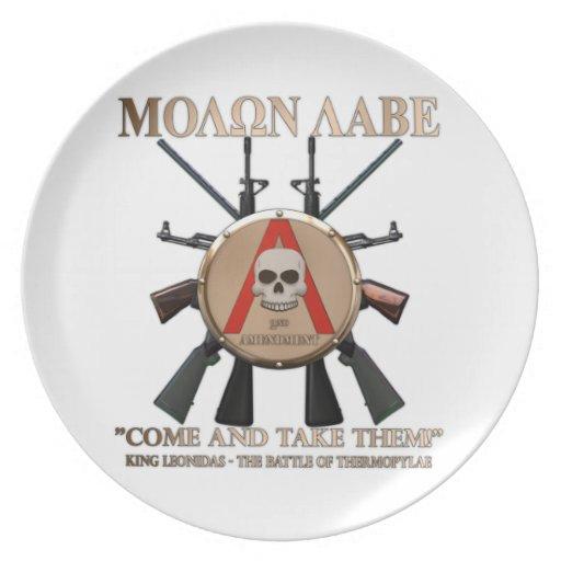 Molon Labe - Spartan Shield Party Plate
