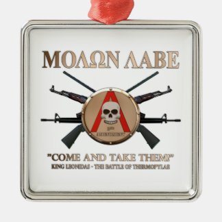 Molon Labe - Spartan Shield Silver-Colored Square Decoration