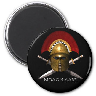 Molon Labe Spartan Skull 6 Cm Round Magnet