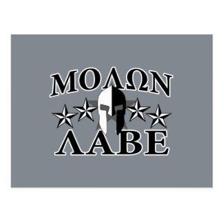 Molon Labe Spartan Warrior 5 stars Black White Postcard