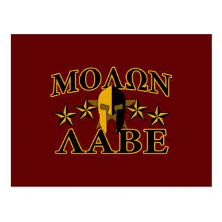 Molon Labe Spartan Warrior 5 stars Burgundy Postcard