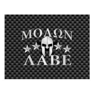 Molon Labe Spartan Warrior 5 stars Carbon Postcard