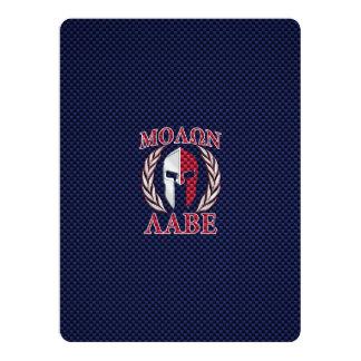 Molon Labe Spartan Warrior Carbon Fiber Print 17 Cm X 22 Cm Invitation Card