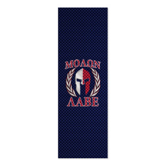 Molon Labe Spartan Warrior Carbon Fiber Print Double-Sided Mini Business Cards (Pack Of 20)