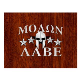 Molon Labe Spartan Warrior Helmet 5 stars Postcard