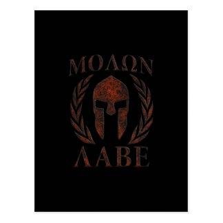 Molon Labe Spartan Warrior Iron Laurels Mask Postcard