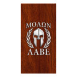 Molon Labe Spartan Warrior Laurels Chro Wood Print Personalized Photo Card