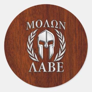 Molon Labe Spartan Warrior Laurels Chro Wood Print Stickers