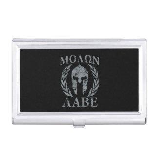 Molon Labe Spartan Warrior Laurels Grunge Business Card Cases