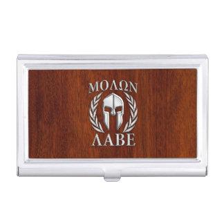 Molon Labe Spartan Warrior Laurels Wood Decor Business Card Holder