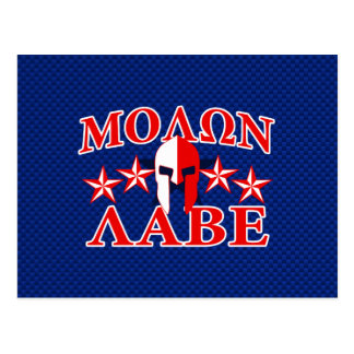 Molon Labe Spartan Warrior Mask 5 stars Patriot Postcard