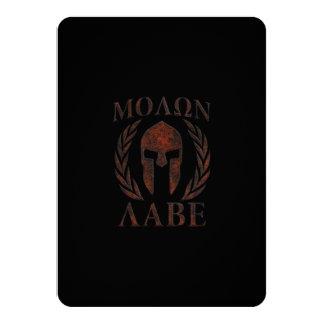 Molon Labe Spartan Warrior Mask Laurels Iron 11 Cm X 16 Cm Invitation Card