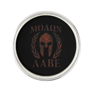 Molon Labe Spartan Warrior Mask Laurels Iron Lapel Pin