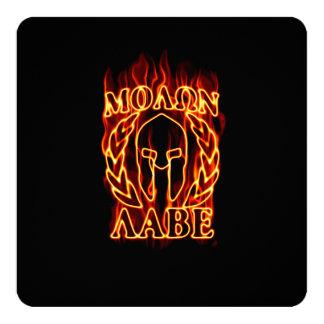 Molon Labe Spartan Warrior on Fire 13 Cm X 13 Cm Square Invitation Card