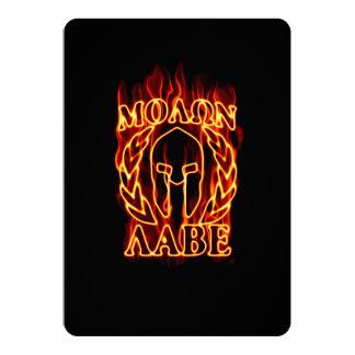 """Molon Labe Spartan Warrior on Fire 5"""" X 7"""" Invitation Card"""