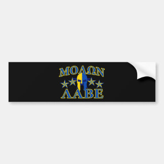 Molon Labe Spartan Warrior Yellow Blue Decor Bumper Sticker