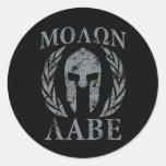 Molon Labe Warrior Mask Laurels on Black Round Sticker