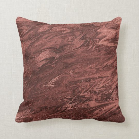 Molten Chocolate Brown Maroon Marble Abstract Cushion