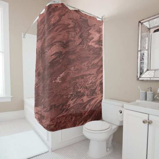 Molten Chocolate Brown Maroon Marble Abstract Shower Curtain