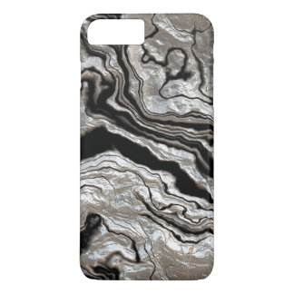 Molten Silver Black Marble Pattern iPhone 8 Plus/7 Plus Case