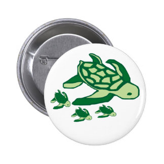 Mom and babies sea turtles button