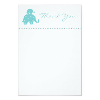Mom and Baby Blue Elephant Flat Thank You Card