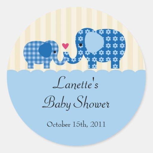 Mom and Baby Boy Elephant Favor Sticker