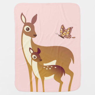 Mom and Baby Deer with Butterfly Baby Blanket