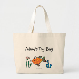 Mom and Baby Fish Kisses Large Tote Bag
