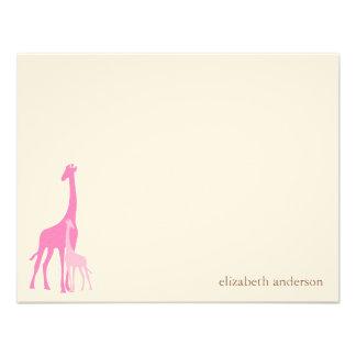 Mom and Baby Giraffe Flat Thank You Cards Custom Invitation