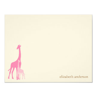 """Mom and Baby Giraffe Flat Thank You Cards 4.25"""" X 5.5"""" Invitation Card"""