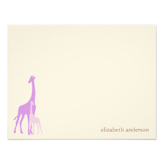Mom and Baby Giraffe Flat Thank You Cards Personalized Invitation