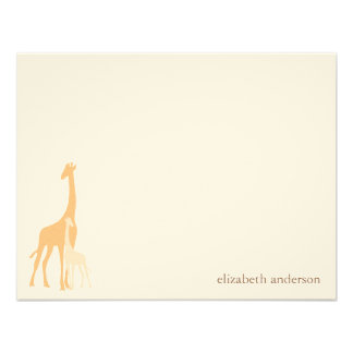 Mom and Baby Giraffe Flat Thank You Cards Announcements
