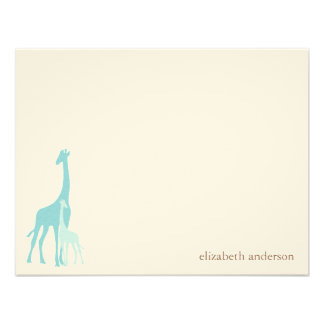 Mom and Baby Giraffe Flat Thank You Cards Personalized Invites