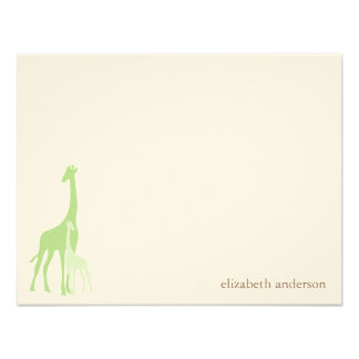 Mom and Baby Giraffe Flat Thank You Cards Custom Invites