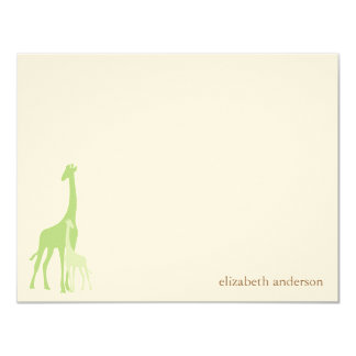 Mom and Baby Giraffe Flat Thank You Cards Custom Invites