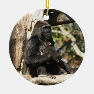 Mom and baby gorilla christmas ornament