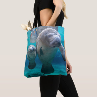 Mom And Baby Manatee (Three Sisters Springs) Tote Bag