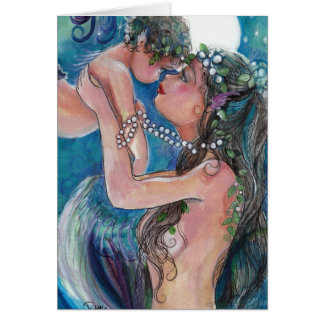 Mom and Baby Mermaid in the moonlight Greeting Card
