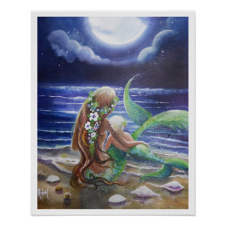Mom and Baby mermaids Poster