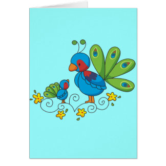 Mom and Baby Peacock Greeting Card