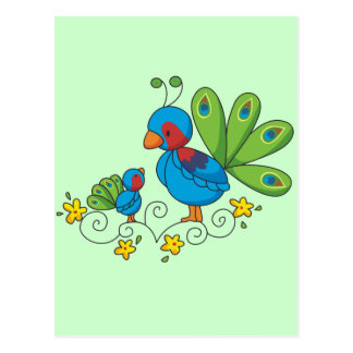 Mom and Baby Peacock Postcard
