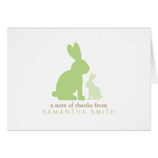Mom and Baby Rabbits Green Baby Shower Thank You Note Card